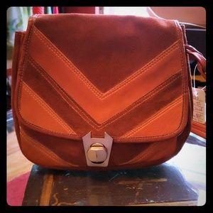 {vintage} Serval 1970s Leather & Suede Handbag